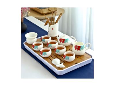 德化白瓷羊脂玉功夫茶具套装家用日式整套简约现代小盖碗喝茶壶杯