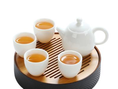 玉瓷功夫茶具套装家用 高白瓷整套旅行茶具办公 茶壶茶杯陶瓷茶盘